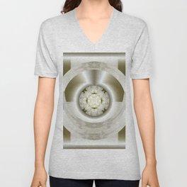 Hub Cap Art in Crystal Sepia Unisex V-Neck