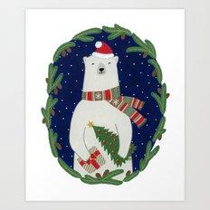 Polar bear with Christmas tree  Art Print