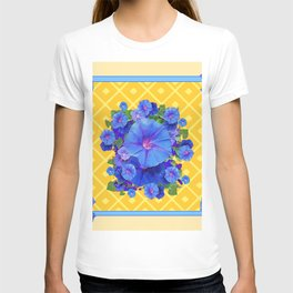 Blue Morning Glories & Gold  Patterns Art T-shirt