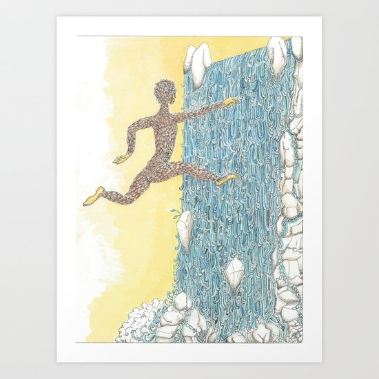 "Jumping Through the Water Curtain"" Art Print"