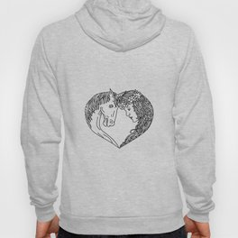 Unicorn and Maiden Heart Drawing Hoody