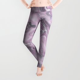 Gemstone Agate Collage Pink and Gray Leggings