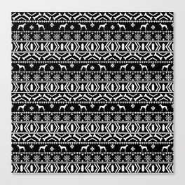 Whippet fair isle dog breed pattern christmas holidays gifts dog lovers black and white Canvas Print
