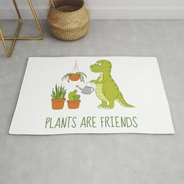 Plants are friends - Cute dino watering his houseplants Rug