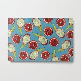 Pomegranate - Dragon Fruit Pattern turquoise Metal Print