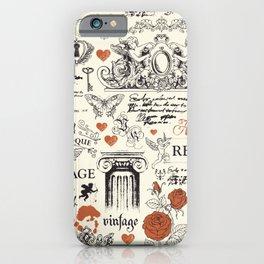 Vintage baroque hand drawn illustration pattern iPhone Case