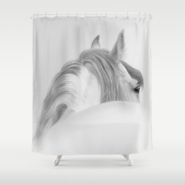 Andalusian Stallion - Digital Painting Shower Curtain