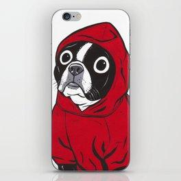 Red Hoodie Boston Terrier iPhone Skin