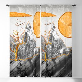 Marble mountains and the fire tree Blackout Curtain