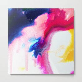 Happiness Talks Abstract Watercolor Painting Metal Print