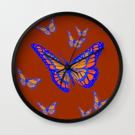 CHOCOLATE COLOR & BLUE-GOLD MONARCH BUTTERFLIES Wall Clock