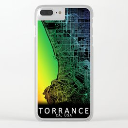 Torrance, CA, USA, City, Map, Rainbow, Map, Art, Print Clear iPhone Case