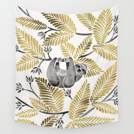 Happy Sloth – Tropical Gold Leaves Wall Tapestry