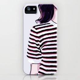 Minimalist Girl in Striped Shirt Digital Vector Illustration iPhone Case