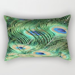 Feather Me Blue & Green (Peacock Feathers) Rectangular Pillow
