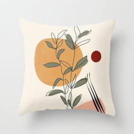 Minimal Line Young Leaves Throw Pillow