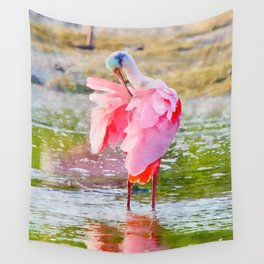 Roseate Spoonbill Preening Feathers Watercolor Wall Tapestry