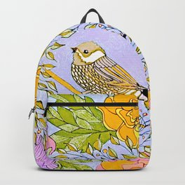 Spring Chickadee in Flowery Woodland Wreath Backpack