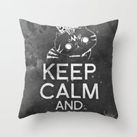 exo Throw Pillows featuring Exo Cat : Keep Calm  And Purrr Meow! by The Gang of Fur