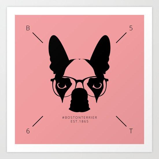 Hipster Boston Terrier Art Print