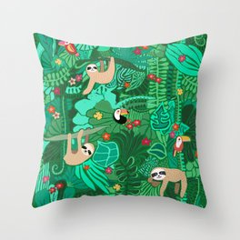 Sloths in the Emerald Jungle Pattern Throw Pillow
