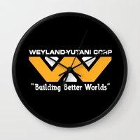 prometheus Wall Clocks featuring Weyland-Yutani Corporation by IIIIHiveIIII