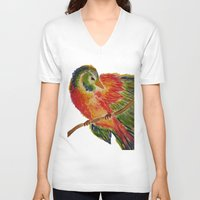 birdy V-neck T-shirts featuring Birdy by LaurenMarie94