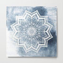 BLUEISH SEA FLOWER MANDALA Metal Print