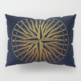 The golden compass- maritime print with gold ornament Pillow Sham