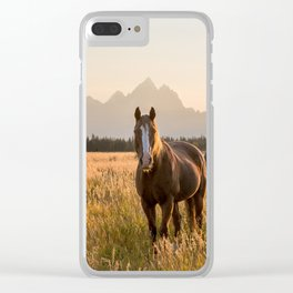 Horses Grazing Below the Tetons Clear iPhone Case