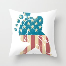 Funny Bigfoot American Flag Footprint Sasquatch Gift Patriotic 4th of July Throw Pillow