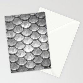 Abstract modern metallic silver mermaid pattern Stationery Cards
