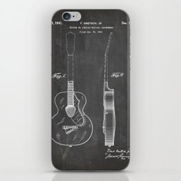 Accoustic Guitar Patent - Classical Guitar Art - Black Chalkboard iPhone Skin