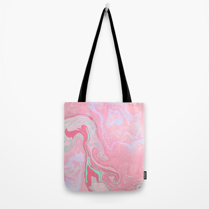 Marbled Effect with Pink Tote Bag