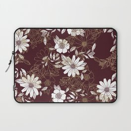 Elegant burgundy white faux gold modern flowers Laptop Sleeve