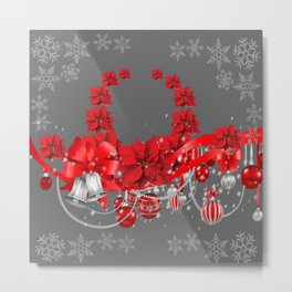 POINSETTIAS FLOWER SNOWFLAKES WREATH DECORATIONS Metal Print