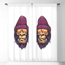 Gorilla With Beanie Illustration Blackout Curtain