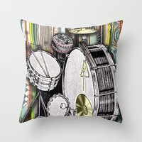 drum Throw Pillows featuring Drum Kit by JustinPotts