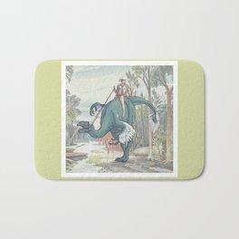Castiel Pinup on a Dinosaur Bath Mat