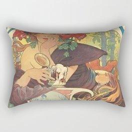 Alfons Mucha Art Nouveau Beer Ad Rectangular Pillow