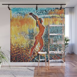 3442s-HS Lake Superior Nude Rendered in Impressionistic Style by Chris Maher Wall Mural