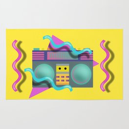 Retro Eighties Boom Box Graphic Rug