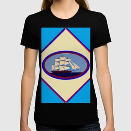 A Nautical Scene with Clipper Ship with Sky Blue Background T-shirt