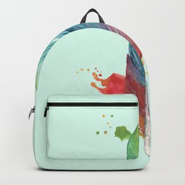 Mint background Rainbow Feather Backpack