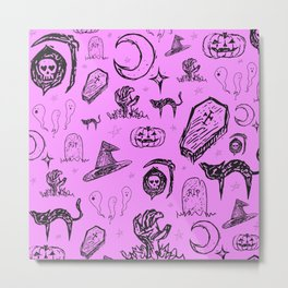 Halloween Doodles in Pink Metal Print