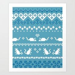 Pixel Rats Blue Art Print