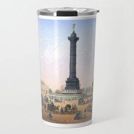 Paris art print Paris Decor office decoration vintage decor PLACE BASTILLE of Paris Travel Mug