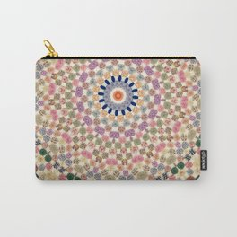 Vintage Textile YoYo Quilt Mandala Carry-All Pouch