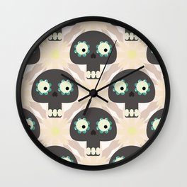 Cute pattern with funny skulls and flowers Wall Clock