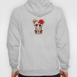 Red Day of the Dead Sugar Skull Cheetah Cub Hoody